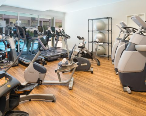 A view of the fitness center at the Windsor Court Hotel, including cardio equipment and fitness balls