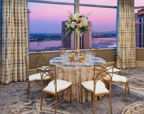 Event hosted in La Chinoiserie on the 23rd floor of Windsor Court Hotel in New Orleans featuring seating dining