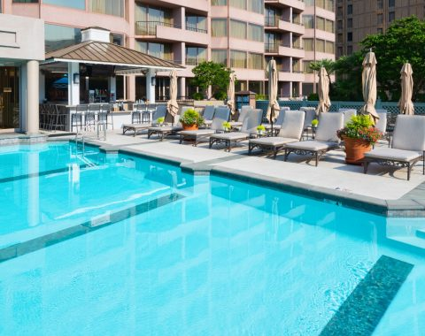 Windsor Court 65-foot saltwater rooftop pool
