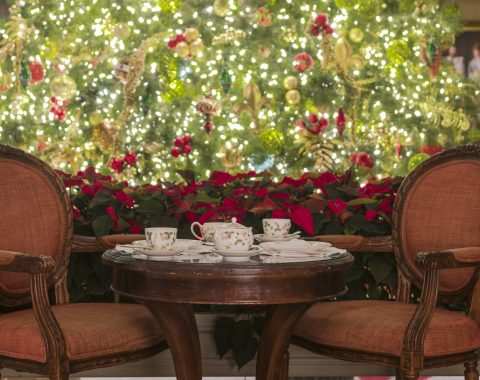 Windsor Court hotel set up for holiday tea during the holidays