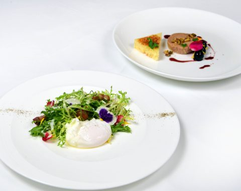 Featured Bastille Day Brunch dishes including Salade Lyonnaise and Foie Gras Torchon